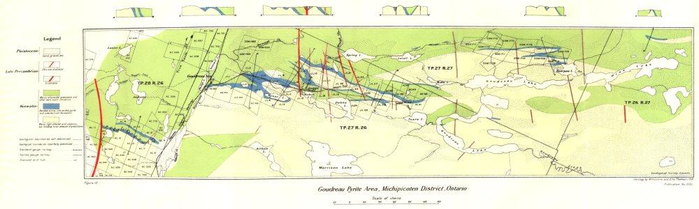 Associate Product CANADA. Goudreau pyrite area, Michipicoten district, Ontario. Geology 1926 map
