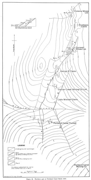 Associate Product CANADA. Northern part of Portland Canal fissure zone. Geological sketch map 1929