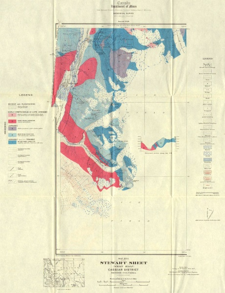Associate Product BRITISH COLUMBIA. Stewart sheet (west half) Cassiar district. Geology 1929 map