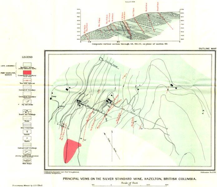 Associate Product BRITISH COLUMBIA. Main Veins silver standard mine, Hazelton. Geological 1919 map