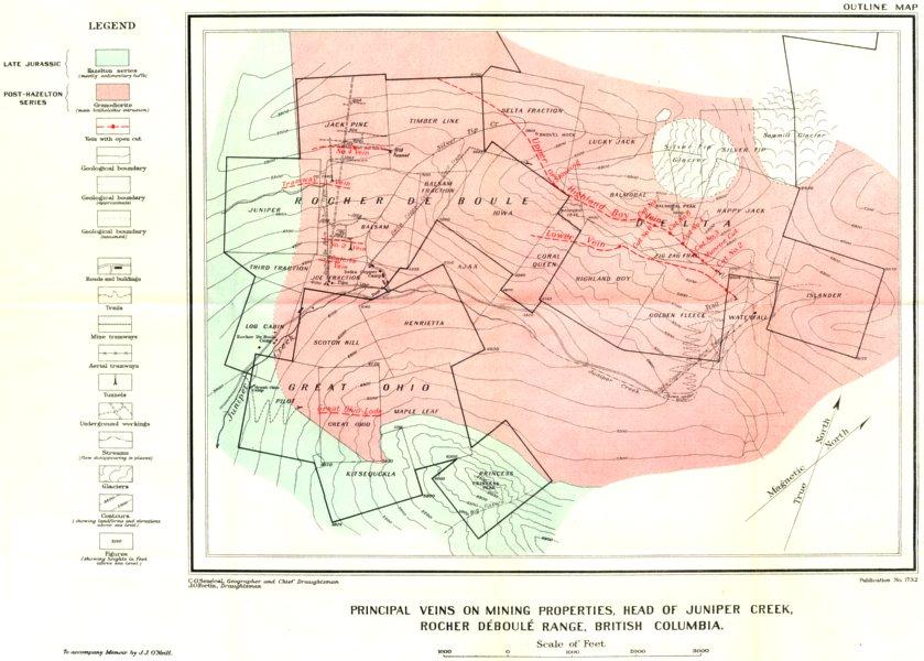 Associate Product BRITISH COLUMBIA. Vein mines Juniper creek Rocher Deboule range geology 1919 map