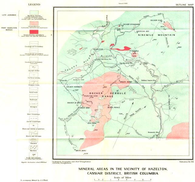 Associate Product CANADA. Minerals Hazelton Cassiar district British Columbia geological 1919 map