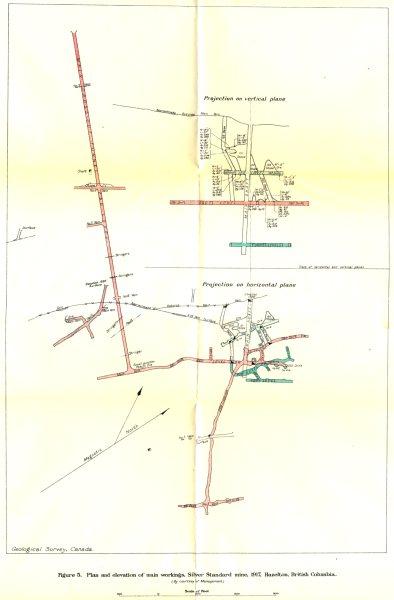 Associate Product BRITISH COLUMBIA. silver standard mine, 1917, Hazelton. Geological 1919 map