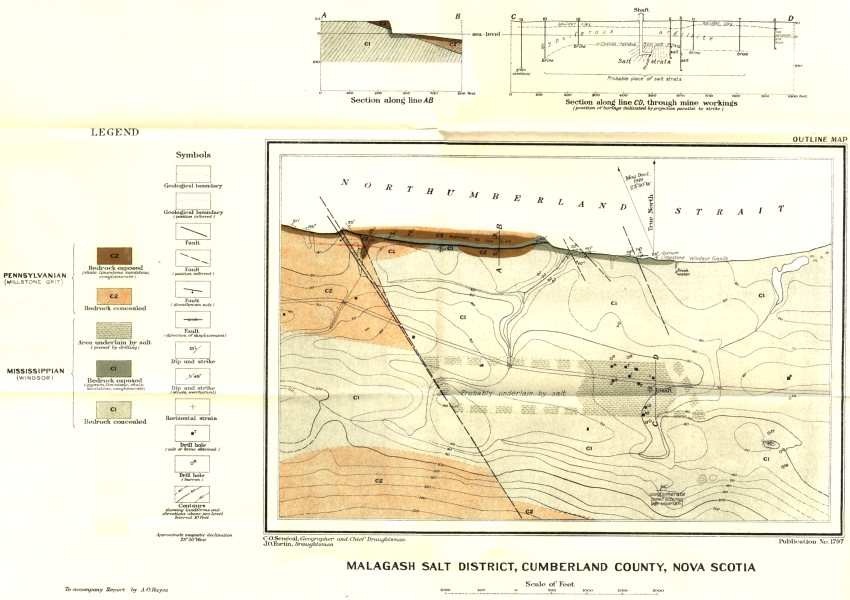 Associate Product CANADA. Malagash salt district, Cumberland county, Nova Scotia. Geology 1920 map