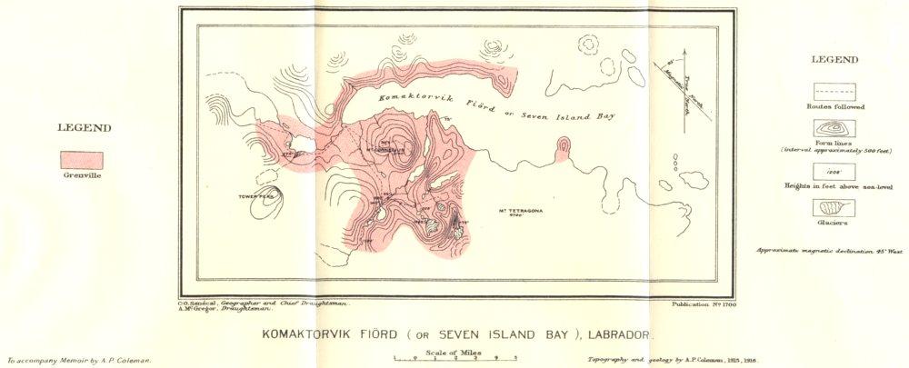 LABRADOR CANADA. Komartorvik Fiord (or Seven Island Bay). Geological 1921 map