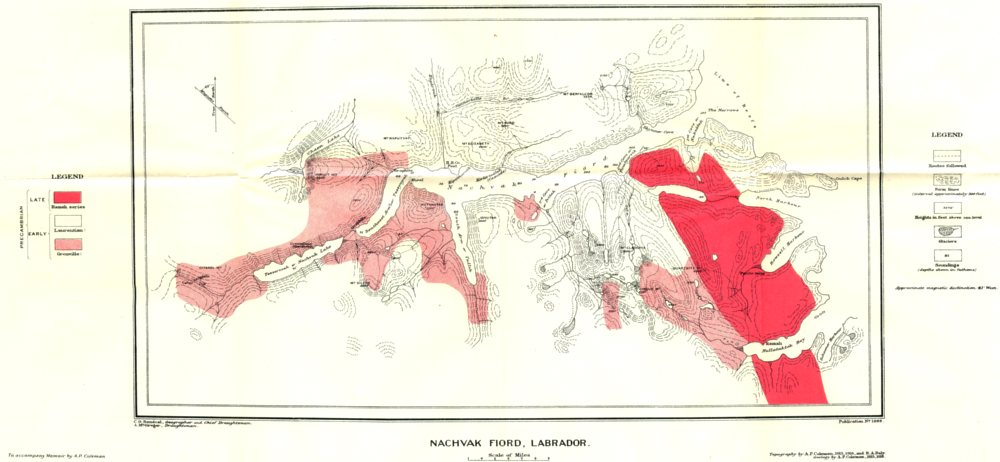 Associate Product LABRADOR CANADA. Nachvak Fiord, Labrador. Geological 1921 old vintage map
