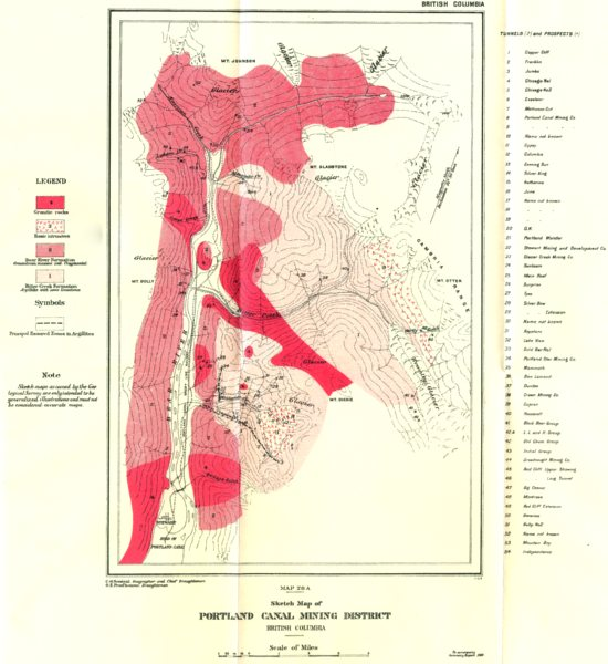 Associate Product BRITISH COLUMBIA. Sketch map Portland canal mining district. Geology 1911