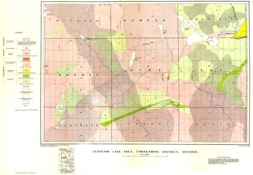 Associate Product CANADA. Kenogami lake area, Timiskaming district, Ontario. Geological  1922 map