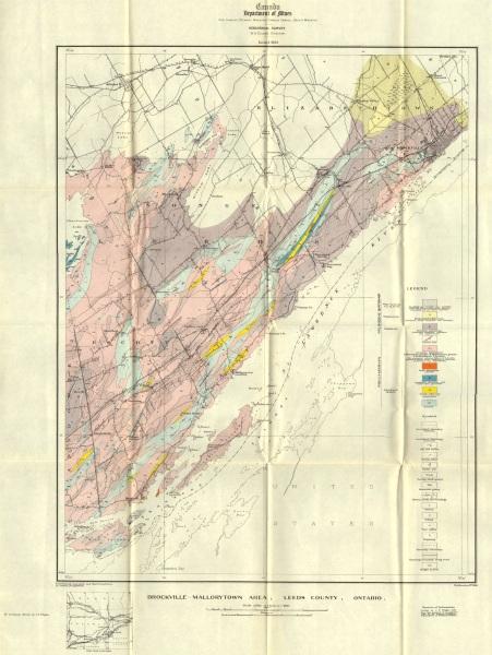 CANADA. Brockville-Mallorytown area, Leeds county, Ontario. Geology 1923 map