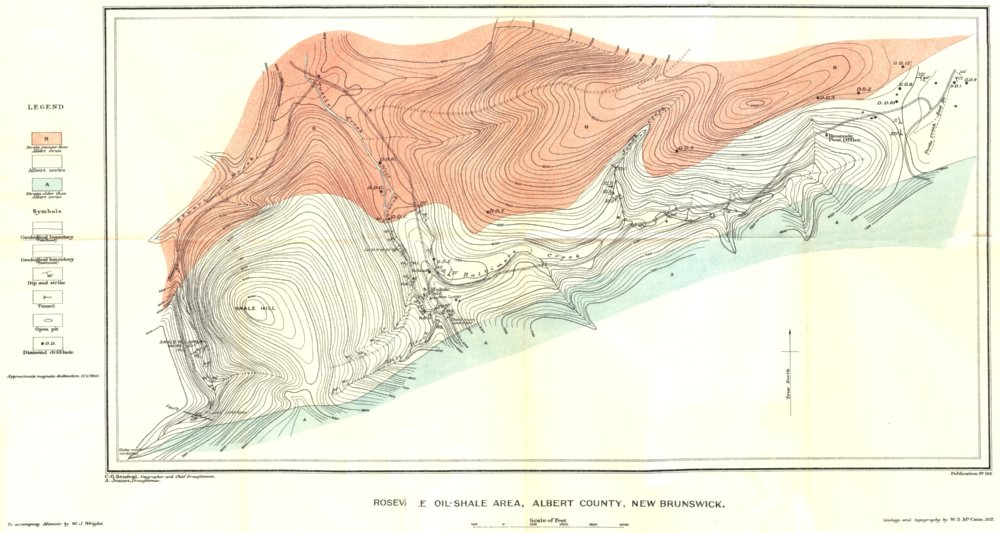 Associate Product CANADA. Rosevale oil-shale area Albert county New Brunswick. Geological 1922 map