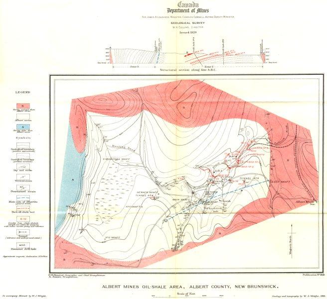 Associate Product CANADA. Albert mines oil-shale area Albert county New Brunswick Geology 1922 map