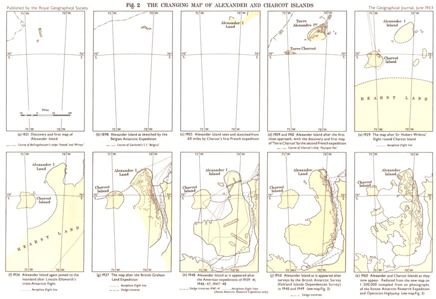 ANTARCTIC. Changing map of Alexander & Charcot Islands 1821-1960. RGS map 1963