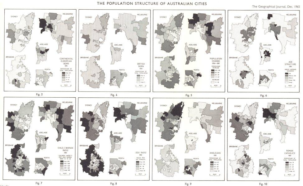 Associate Product AUSTRALIA. Population structure cities. Sydney Melbourne Brisbane RGS map 1965
