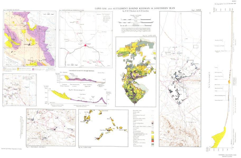 Associate Product IRAN. Land use Kerman;Geology Relief;population comms;Badaman;Jupar RGS map 1949