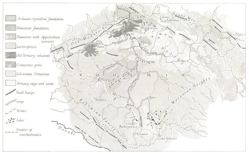 Associate Product CZECH REP. Geomorphological structure of Bohemia.  Emm de Martonne. RGS map 1966
