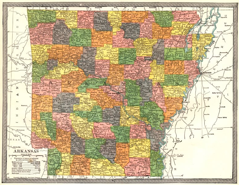 Associate Product ARKANSAS state map. Counties 1907 old antique vintage plan chart