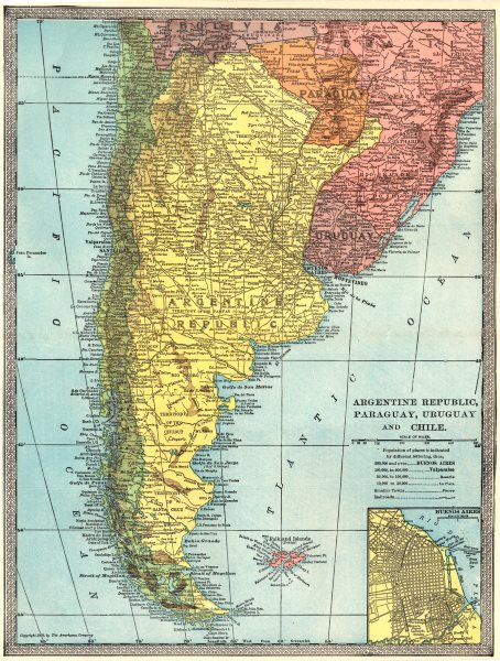 Associate Product ARGENTINE REPUBLIC Argentina Paraguay Uruguay Chile. Buenos Aires 1907 old map