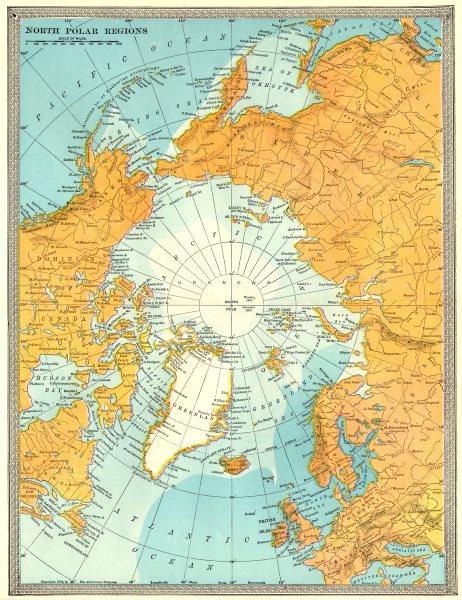 Associate Product ARCTIC. North Polar region. Explorers' positions. Peary Nansen Abruzzi 1907 map