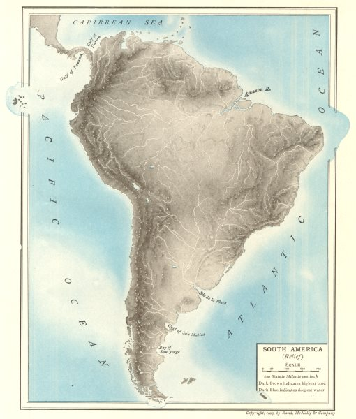 Associate Product South America (Relief). Rivers Mountains 1907 old antique map plan chart