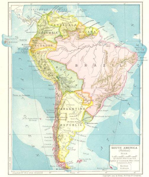 Associate Product South America (Political). Guiana Brazil Bolivia Argentine Republic 1907 map