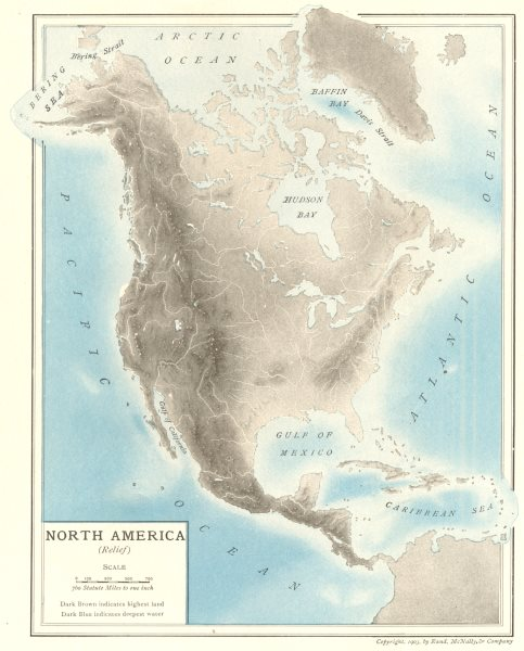 Associate Product North America (Relief). Mountains. Rivers 1907 old antique map plan chart