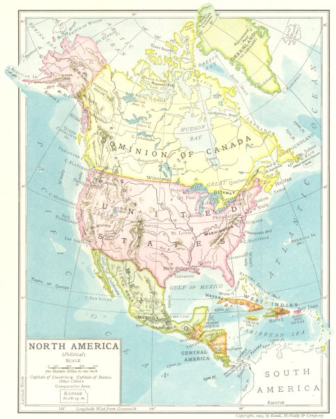Associate Product North America (Political). United States Dominion of Canada Meixco 1907 map