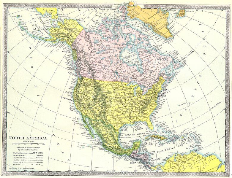 Associate Product North America Political. United States. Dominion of Canada. Meixco 1907 map