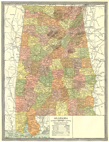 ALABAMA state map. Counties 1907 old antique vintage plan chart