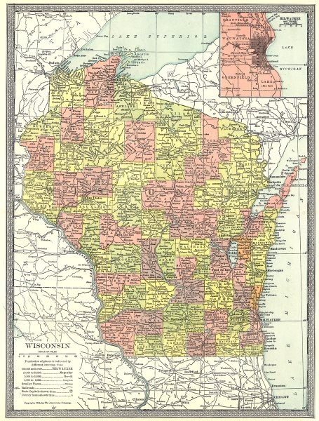Associate Product WISCONSIN state map. Counties. Inset Milwaukee environs 1907 old antique