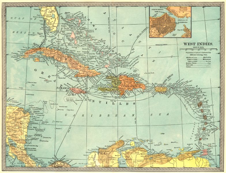 Associate Product WEST INDIES. Telegraph cables. Havana & environs. Caribbean 1907 old map