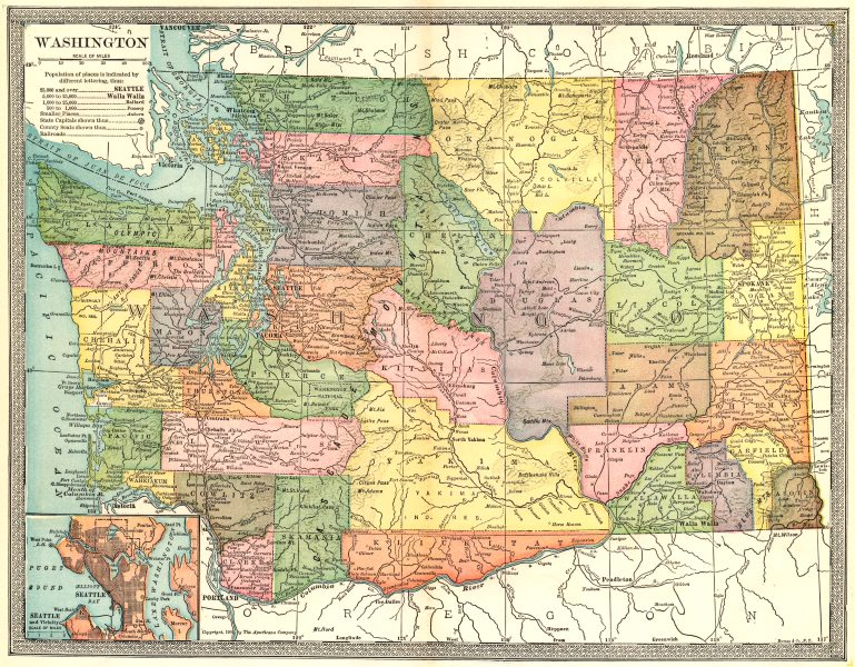 Associate Product WASHINGTON state map. Counties. Seattle environs 1907 old antique chart