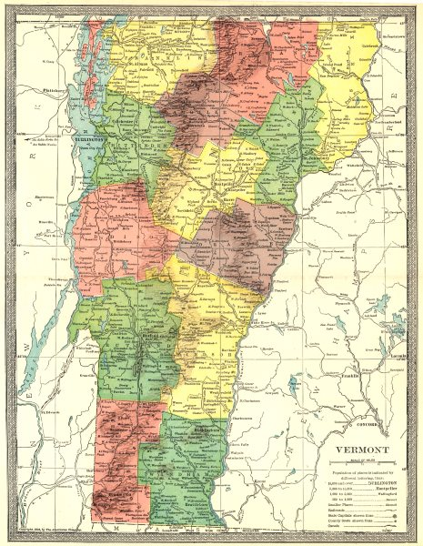 Associate Product VERMONT state map. Counties 1907 old antique vintage plan chart