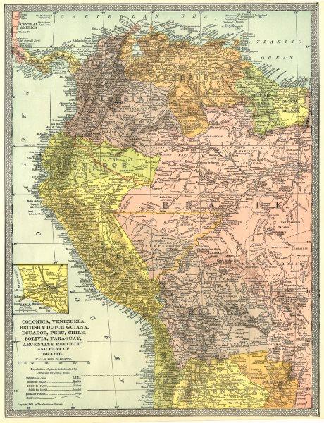 Associate Product SOUTH AMERICA NW. Colombia Venezuela Ecuador Peru Bolivia Brazil. Lima 1907 map