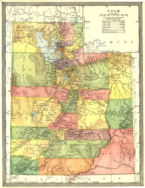Associate Product UTAH state map. Counties 1907 old antique vintage plan chart
