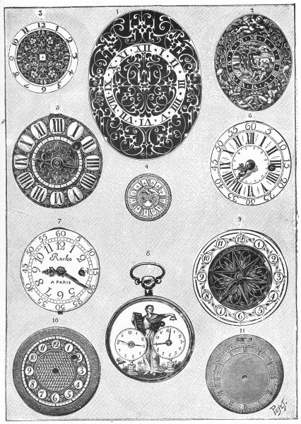 Associate Product FRENCH WATCHES. Dials of French watches of 16th and 19th Centuries 1907 print