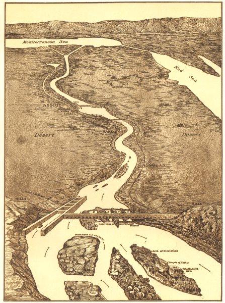 Associate Product EGYPT. Aswan Dam; Bird's-eye view of Structure & Surrounding Region Nile 1907