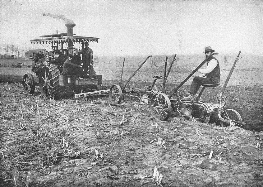 Associate Product USA. A Modern Steam Plow plough that turns seven furrows at one time 1907