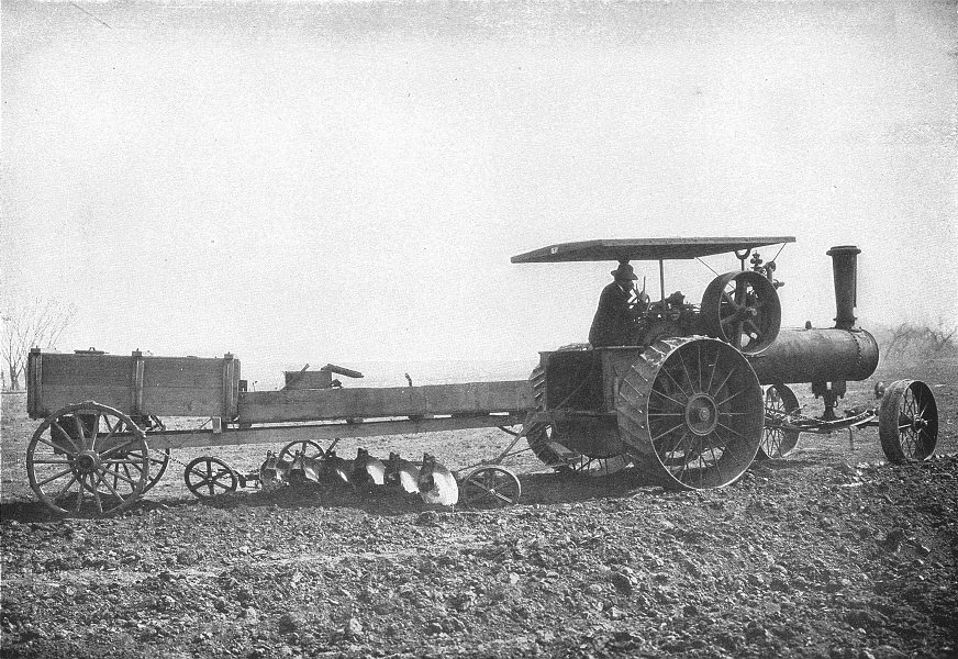Associate Product FARMING. Plowing ploughing a Furrow six feet wide with a traction engine 1907
