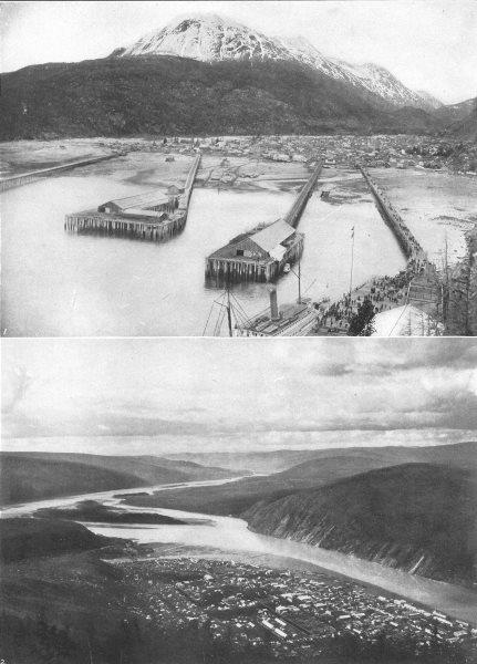 Associate Product ALASKA. Alaska 1 City of Skagway; 2 City of Dawson 1907 old antique print