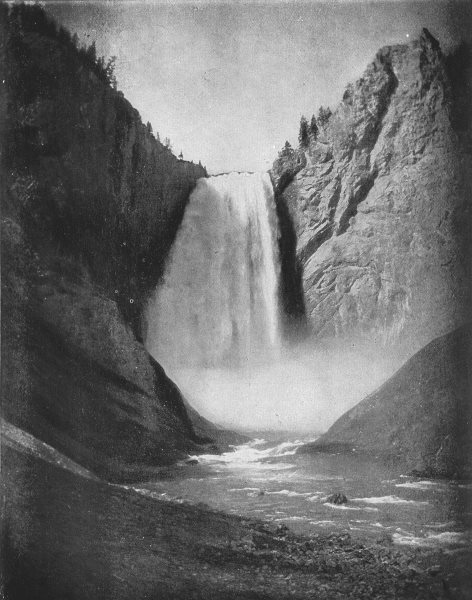 Associate Product WYOMING. Bridal-Veil Fall in the Yellowstone Park 1907 old antique print
