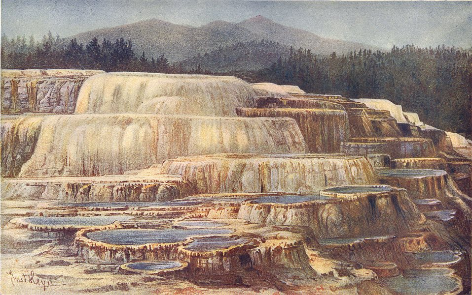 Associate Product YELLOWSTONE PARK. Terraces built overflow of Geysers (Mammoth hot Springs)  1907