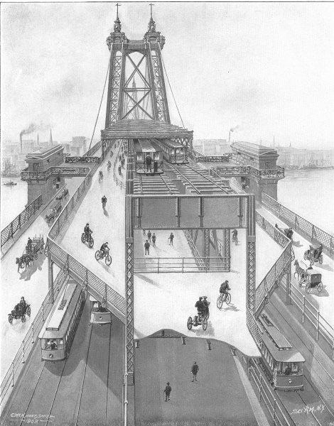 Associate Product NEW YORK CITY. Williamsburg Bridge rail road cycle paths horse carts trams 1907