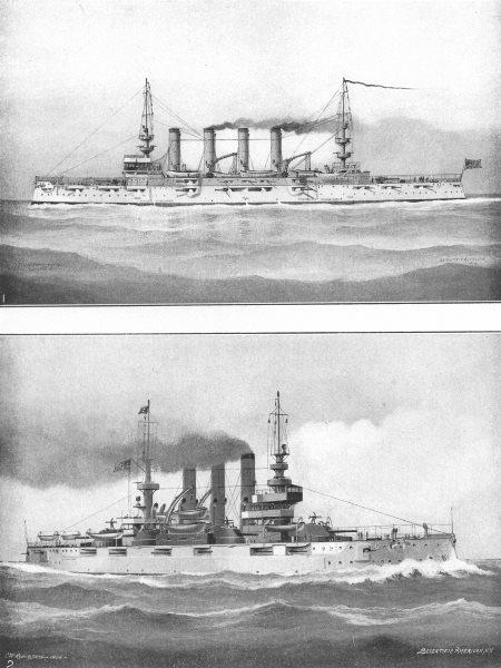 Associate Product USA. Warships; Cruiser Milwaukee; Battleship Connecticut-Launched 1904 1907