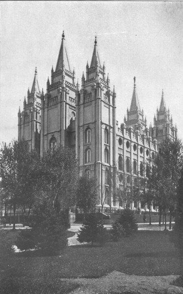 Associate Product UTAH. The Mormon Temple, Salt Lake City 1907 old antique vintage print picture
