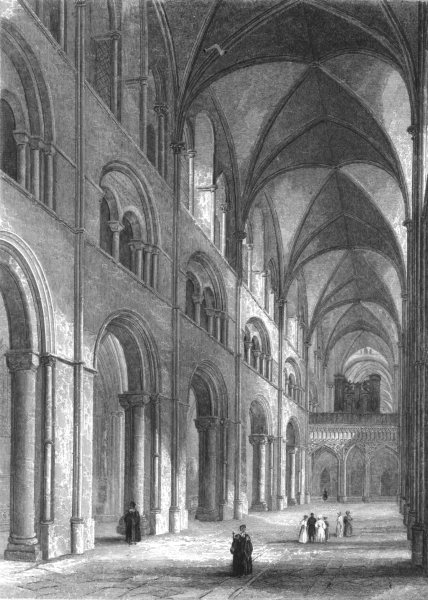 Associate Product SUSSEX. Chichester Cathedral, Nave looking East c1842 old antique print
