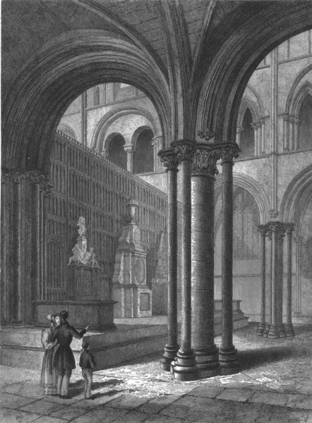 Associate Product SUSSEX. Chichester Cathedral, View in the Presbytery c1842 old antique print