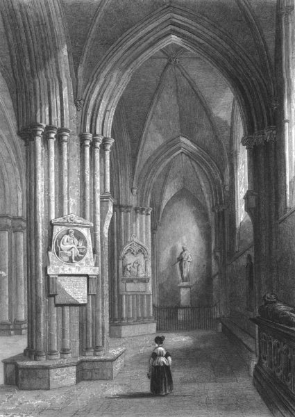 Associate Product SUSSEX. Chichester Cathedral, Northern Aisle c1842 old antique print picture