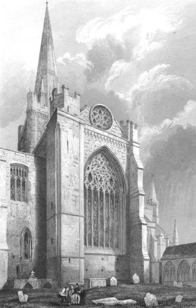 Associate Product SUSSEX. Chichester Cathedral, South transept c1842 old antique print picture