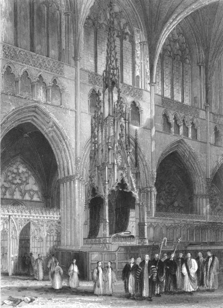 Associate Product DEVON. Exeter Cathedral, the Bishop's throne c1842 old antique print picture