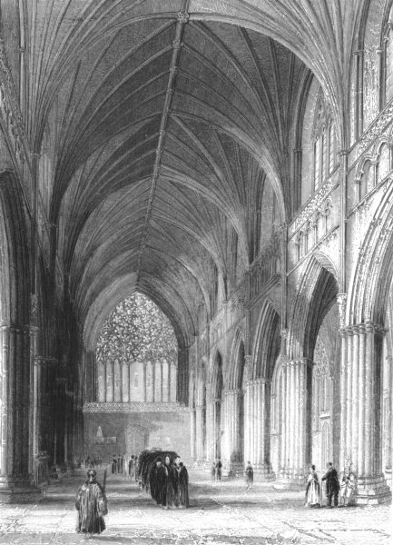 Associate Product DEVON. Exeter Cathedral, the Nave looking west c1842 old antique print picture